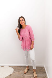 Flirty Lace Blouse In Pink - Boho Valley Boutique