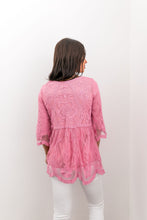 Load image into Gallery viewer, Flirty Lace Blouse In Pink - Boho Valley Boutique