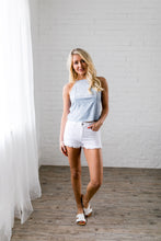 Load image into Gallery viewer, Frayed Hem White Denim Shorts