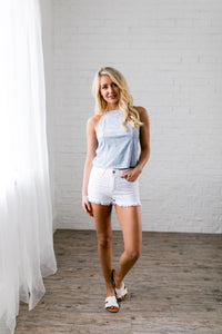 Frayed Hem White Denim Shorts - Boho Valley Boutique