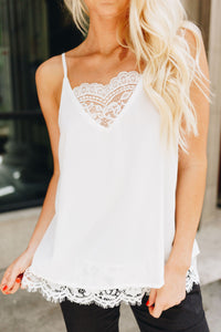 Frosted With Lace Camisole In White - Boho Valley Boutique