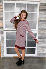 Load image into Gallery viewer, Georgia On My Mind Dress In Gray + Brick - Boho Valley Boutique