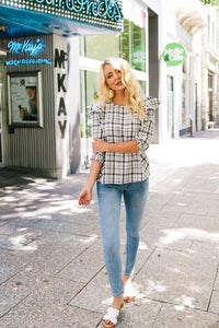 Glad To Wear Plaid Blouse - Boho Valley Boutique