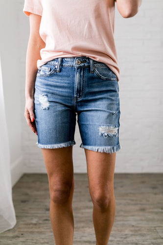 Halfway There Distressed Denim Shorts - Boho Valley Boutique