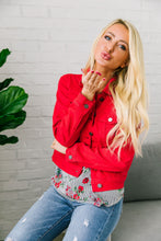 Load image into Gallery viewer, Happy Day Red Denim Jacket - Boho Valley Boutique