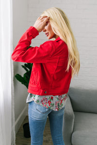 Happy Day Red Denim Jacket - Boho Valley Boutique