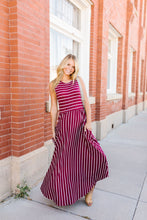 Load image into Gallery viewer, Have It Both Ways Striped Dress In Wine