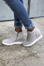 Load image into Gallery viewer, Hole In One Suede High Tops in Light Gray - Boho Valley Boutique