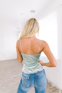 Ice Sage Crushed Velvet Lace Cami - Boho Valley Boutique