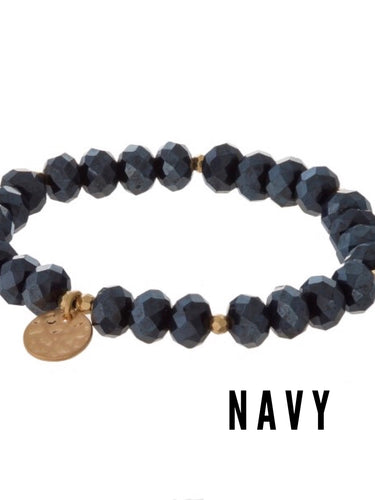 Mix & Match Beaded Stretch Bracelets in Navy - Boho Valley Boutique
