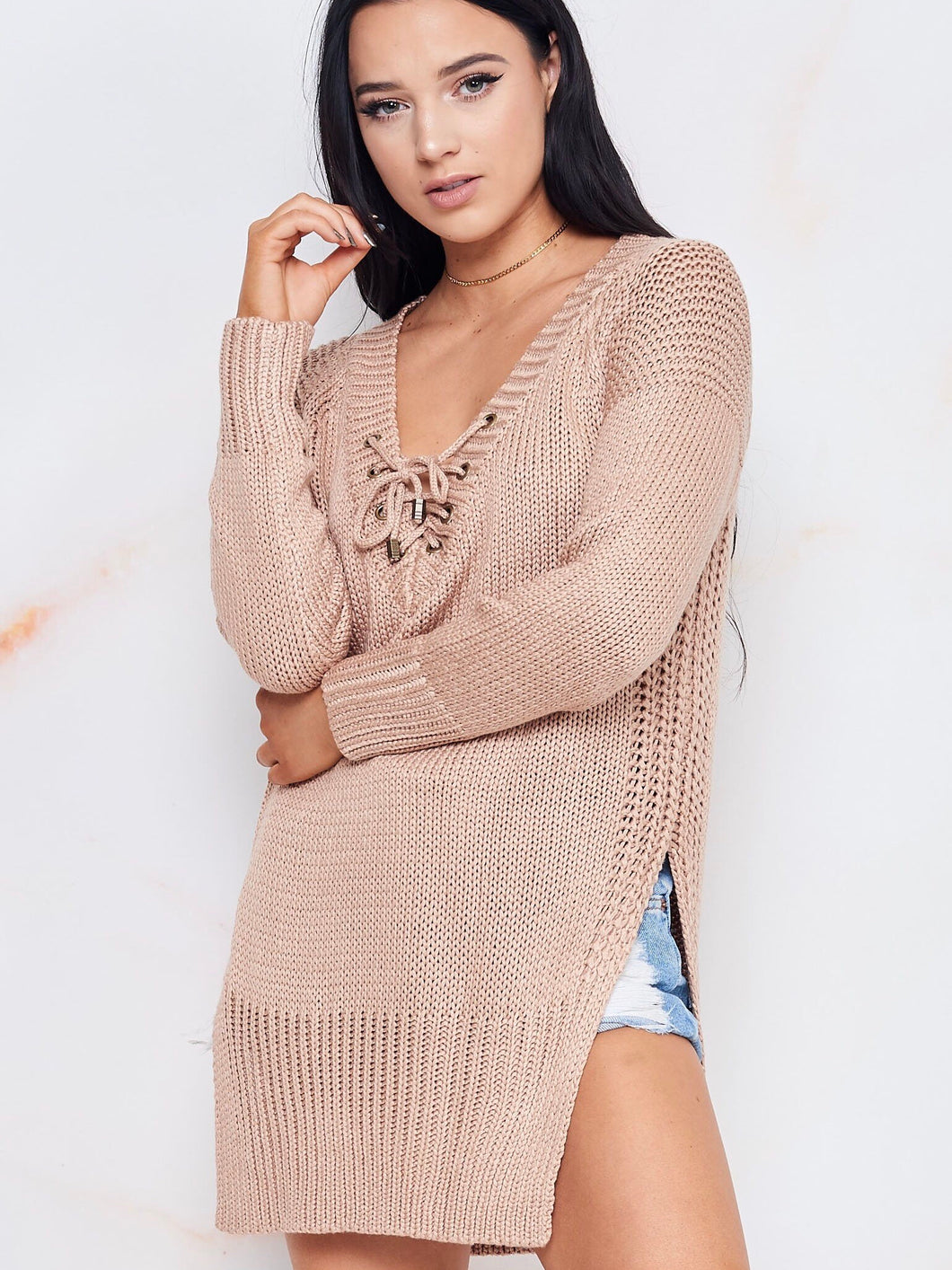 Love All Knit Lace Up Sweater - Boho Valley Boutique