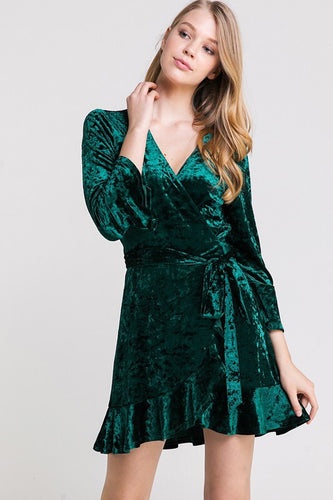 Hunter Green Velvet Dress - Boho Valley Boutique