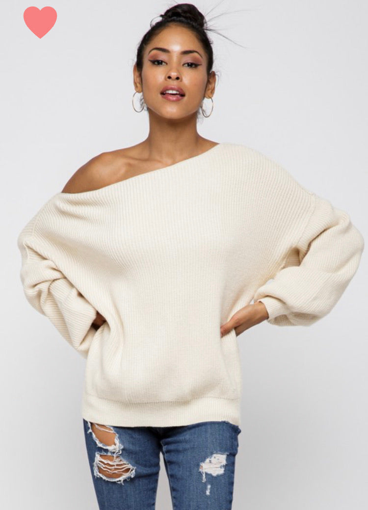 Baby, It's Cold Off The Shoulder Sweater