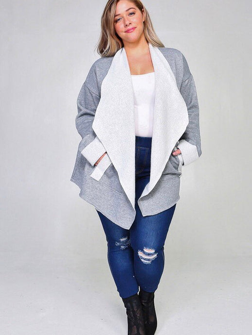 French Terry Waterfall Cardigan (3X) - Boho Valley Boutique