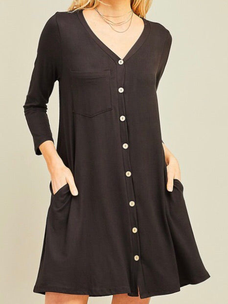 Buttery Button Down Dress - Boho Valley Boutique