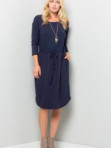Caroline Solid Navy Midi Dress - Boho Valley Boutique