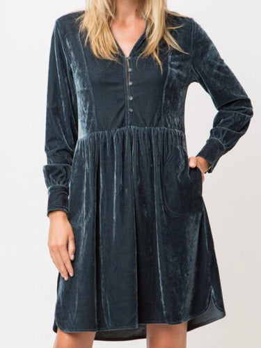 Velvet Button Down Dress (Large) - Boho Valley Boutique