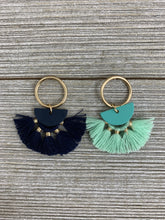 Load image into Gallery viewer, Ring and Half Moon Color Metal Tassel Earrings - Boho Valley Boutique