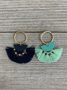 Ring and Half Moon Color Metal Tassel Earrings - Boho Valley Boutique