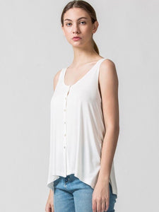 Button Down Tank in White - Boho Valley Boutique