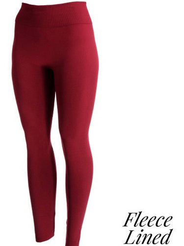Burgundy Fleece Lined Tights - Boho Valley Boutique