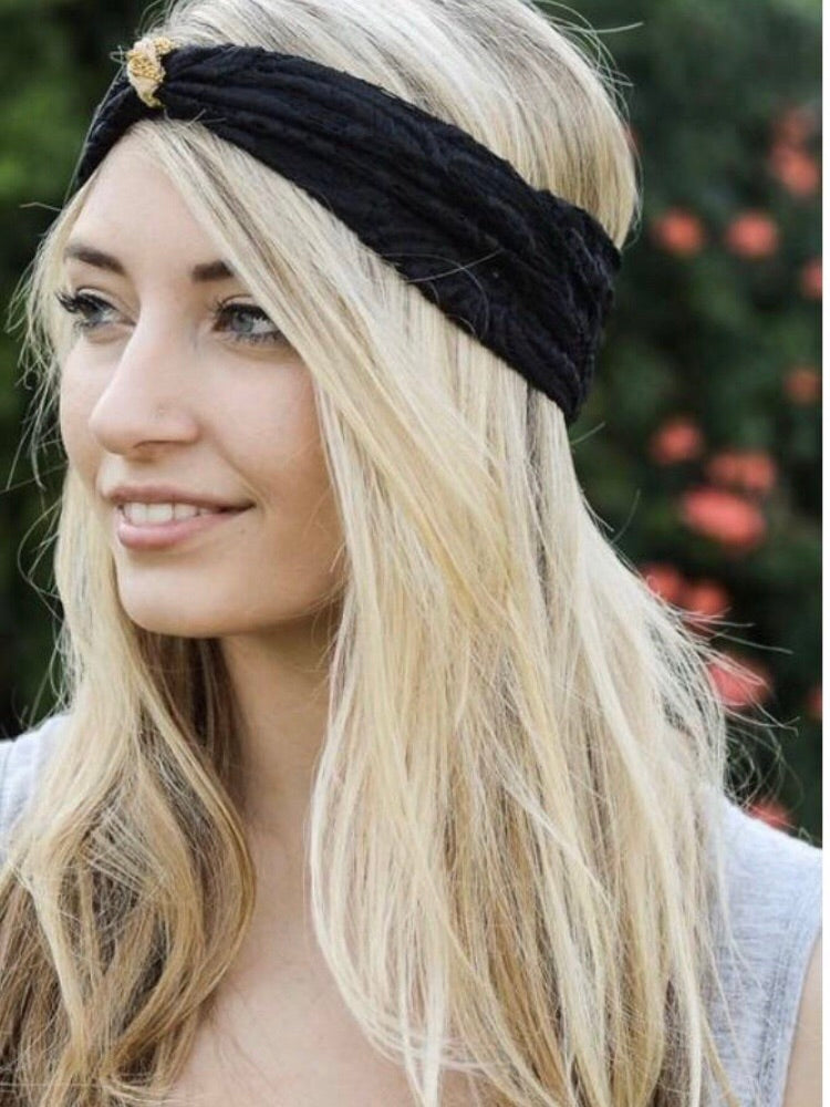 Lace Turban Headband (4 Colors Available) – Boho Valley Boutique f71a705c247