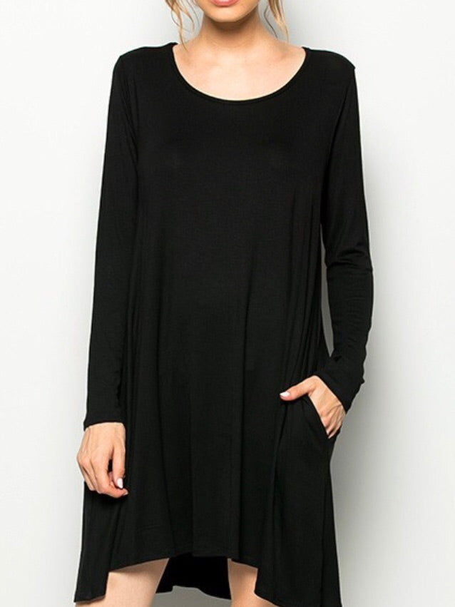 Black Swing Dress with Pockets (Curvy) - Boho Valley Boutique