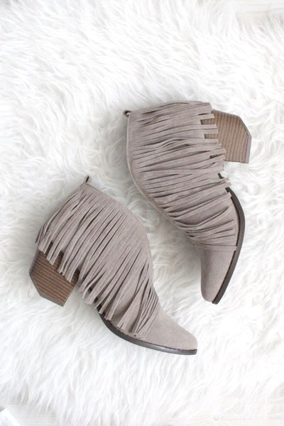 Fringe Booties in Grey - Boho Valley Boutique