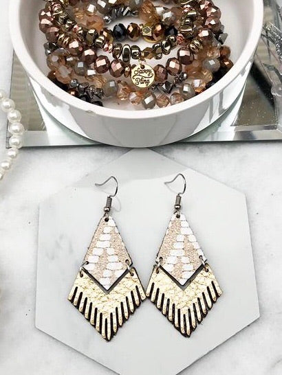 Chevron Shimmer Mini Fringe Earrings - Boho Valley Boutique