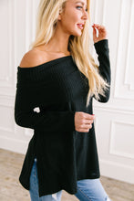 Load image into Gallery viewer, Isn't She Lovely Black Waffle Knit Top - Boho Valley Boutique