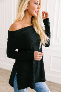 Isn't She Lovely Black Waffle Knit Top - Boho Valley Boutique