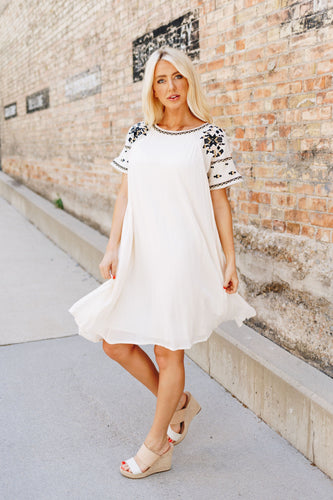 Ivory Elegance Embroidered Midi Dress - Boho Valley Boutique