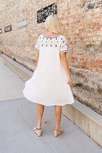 Ivory Elegance Embroidered Midi Dress