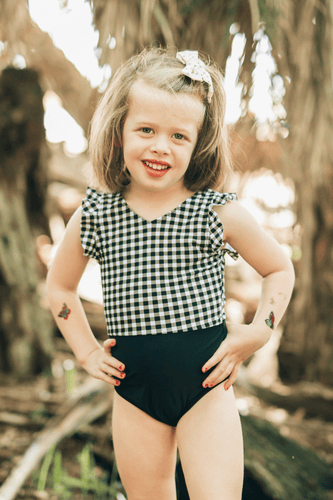 Kids B&W Gingham Ruffle Sleeve One Piece - Boho Valley Boutique