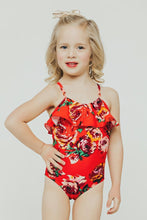 Load image into Gallery viewer, Kids Red Floral Ruffle One Piece - Boho Valley Boutique
