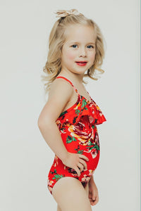 Kids Red Floral Ruffle One Piece - Boho Valley Boutique