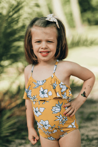 Kids Yellow Floral Ruffle One Piece - Boho Valley Boutique