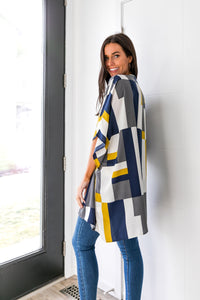 Lightweight Modern Art Color Block Cardigan - Boho Valley Boutique