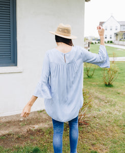 Linen-Like Trumpet Sleeve Blouse In Pale Blue - Boho Valley Boutique