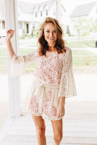 Lolita Bell Sleeve Lace Blouse In Cream - Boho Valley Boutique