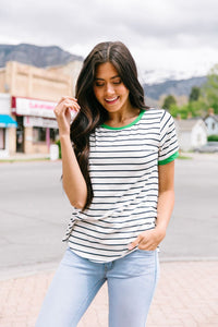 Lucky Stripe Ringer Tee - Boho Valley Boutique