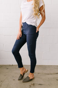 Marvelous Moto Jeggings In Navy - Boho Valley Boutique