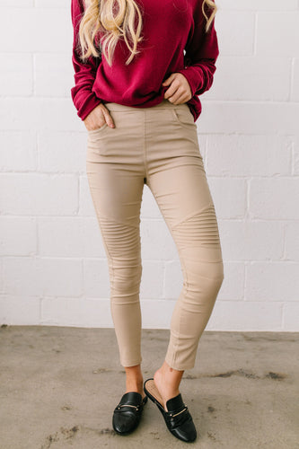 Marvelous Moto Jeggings In Sand - Boho Valley Boutique