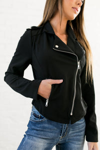 Modern Moto Jacket In Black - ALL SALES FINAL - Boho Valley Boutique