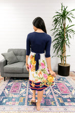 Load image into Gallery viewer, Navy + Floral Faux Wrap Dress - Boho Valley Boutique