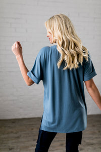 Nessa Crew Neck Top In Titanium
