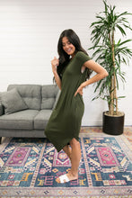 Load image into Gallery viewer, Olive Angled Hem T-Shirt Dress - Boho Valley Boutique