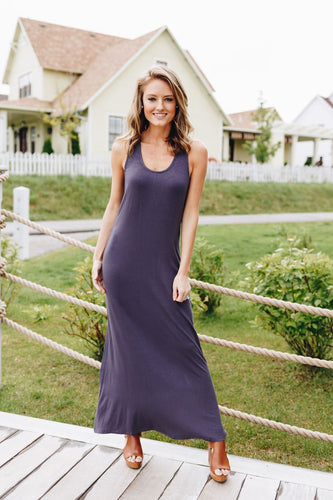 On Fire Twisted Back Maxi Dress In Gray