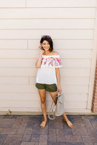 Paradise Found Embroidered Off-Shoulder Blouse