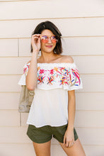 Load image into Gallery viewer, Paradise Found Embroidered Off-Shoulder Blouse